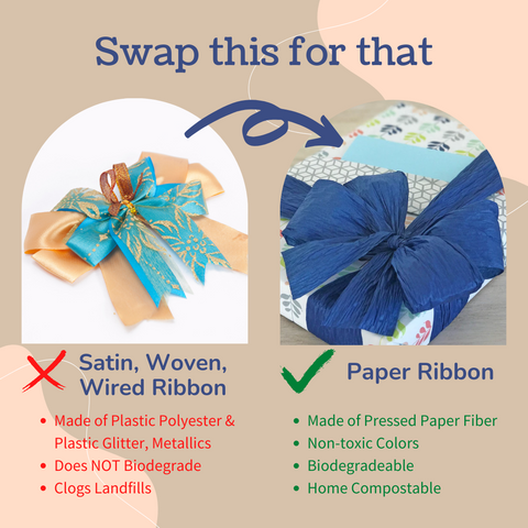 Swap satin ribbon for paper ribbon that will hold its shape