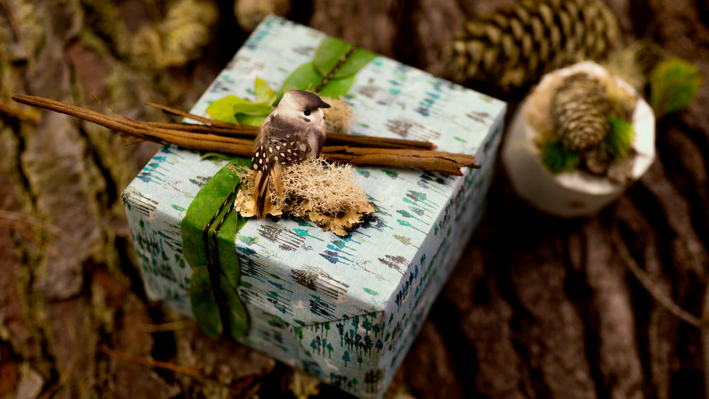 Holiday Gift Wrapping tips - Bird and Bark Gift Toppers with Christmas Wrapping Paper