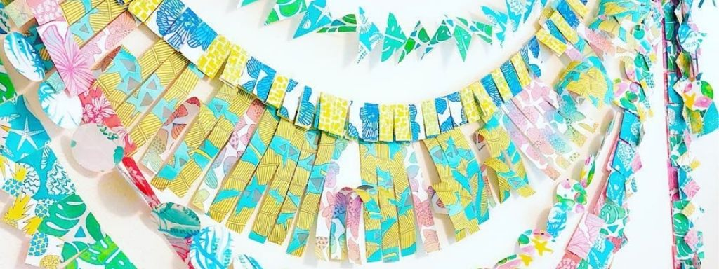 DIY Party Decor - Garland made of upcycled wrapping paper