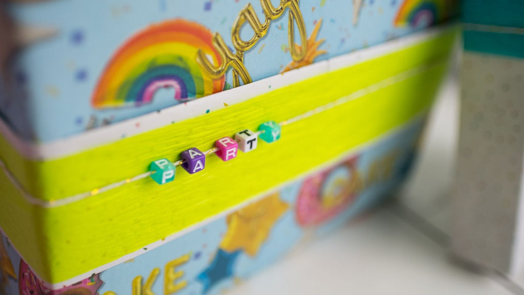 Gift Wrapping Ideas for Kids Birthdays - Letter Beads