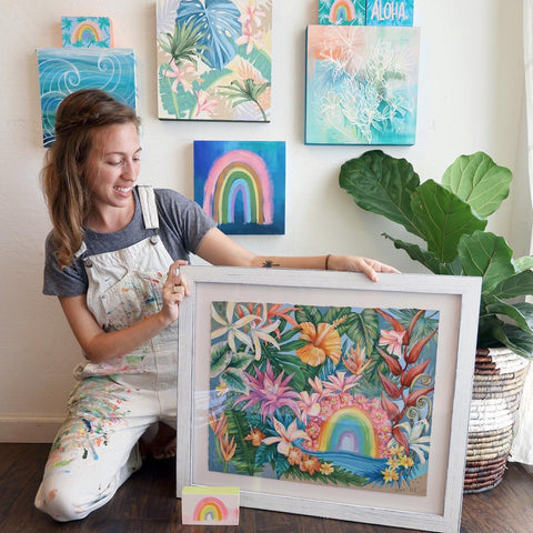 Lauren Roth with her completed artwork