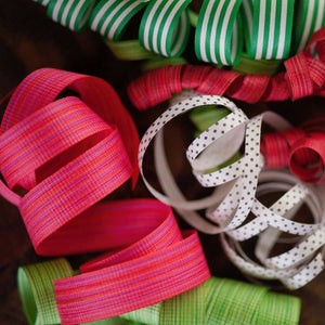 Green & White Stripe - Cotton Curling Ribbon
