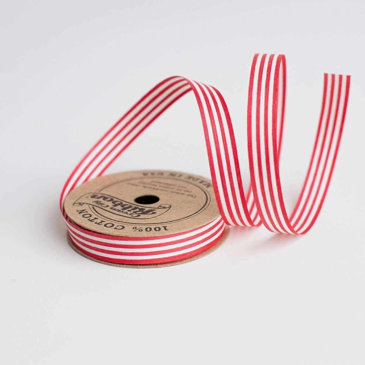 Red & White Stripe - Cotton Curling Ribbon