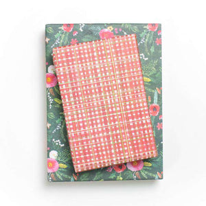 Homespun Plaid Red/ Winter Floral Evergreen