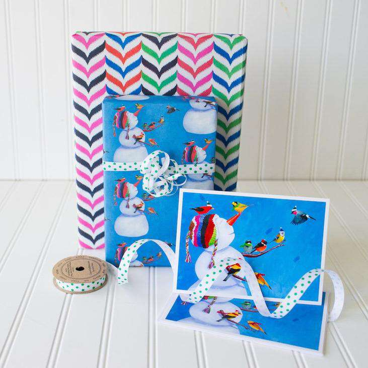 Gift Wrap Set: Snowman & Birdies by Allport Editions