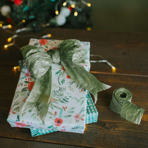 Winter Floral Cream/ Homespun Plaid Green