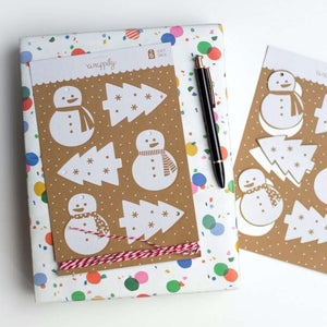 Snow Scenes Pop-Out Kraft Gift Tags & Twine