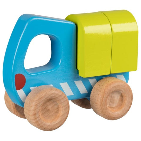 Blue and Green Construction Truck Wooden Toy