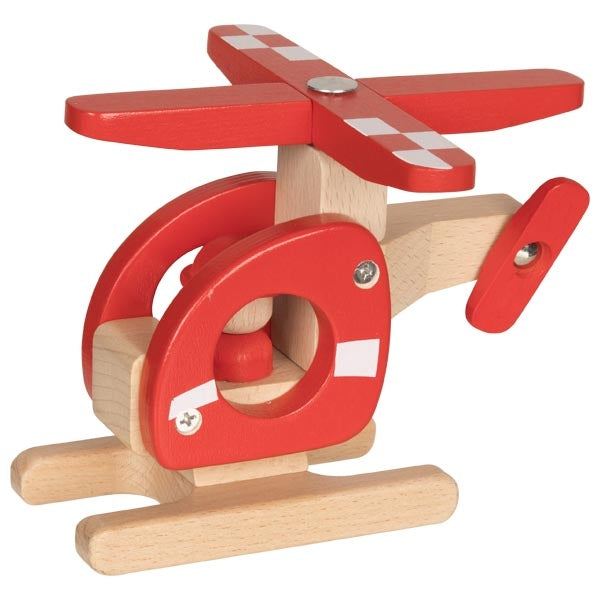 Red Helicopter Wooden Toy