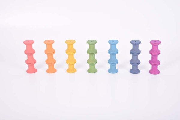 Rainbow Wooden Spools Set of 7