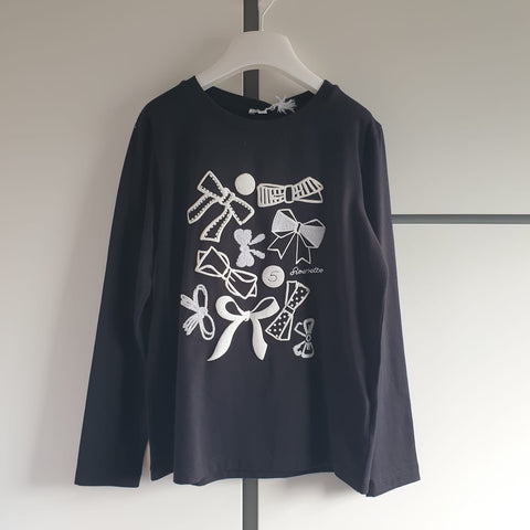 Girls Designer Simonetta Bow Long Sleeved Top aged 10 RRP£85