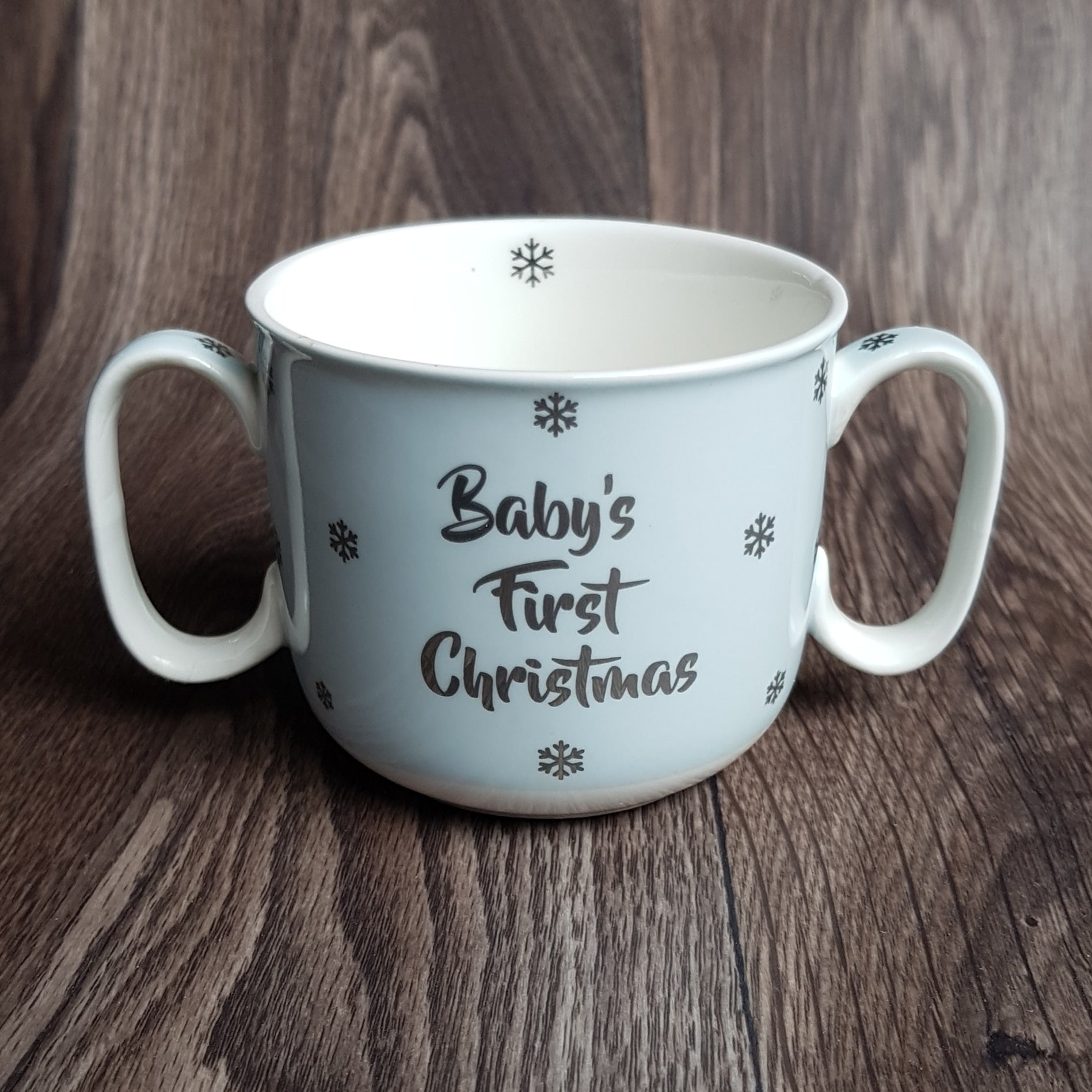 Boys Blue Babys 1st / First Christmas Double Handle Cup - The Future Image