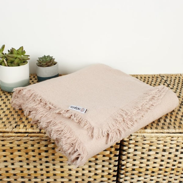 reSpiin Wool Throw with Fringe - Plain Colours