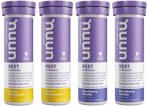 Nuun Rest: Rest and Recovery Drink Tablets, Magnesium Citrate, Tart Cherry, Electrolytes - Lemon Chamomile + Blackberry Vanilla - 4 Tubes (40 Servings)