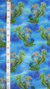 Sea Life and Mermaids - Fabric Collection - Price Is Per Half Meter