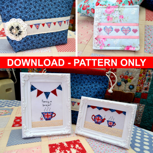 DOWNLOAD - Union Jack Tea Time Cross Stitch Set