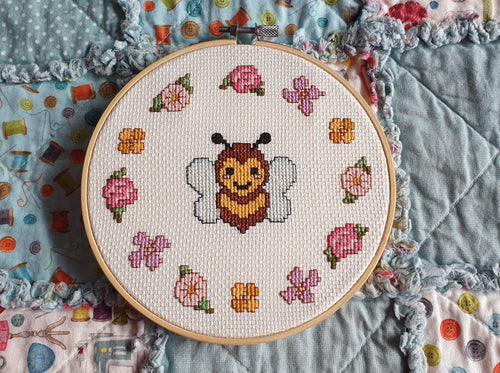 Bee and Flowers Cross Stitch Kit