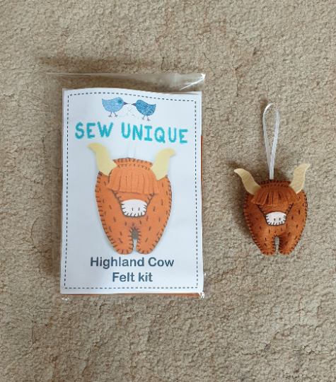 Make Your Own Cute Highland Cow - Felt Kit/ Sewing Kit / Cute Highland Cow / Hand Sewing Kit / Highland Coo