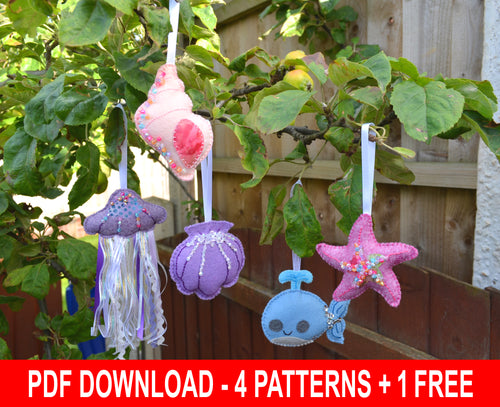 Sea themed felt ornament patterns - DOWNLOAD - four patterns + one free