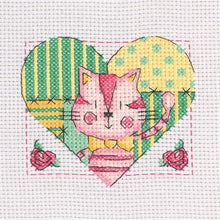 "MCS09 CROSS STITCH KITS 6"" X 6"" CAT IN HEART"