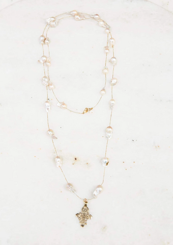Hefty Spacer Baroque Pearl Necklace