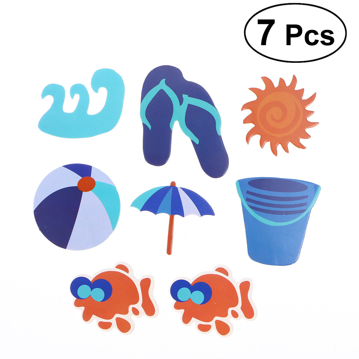 7pcs Hawaii Beach Themed Cake Topper Picks Decoration For Tropical Summer Birthday Party