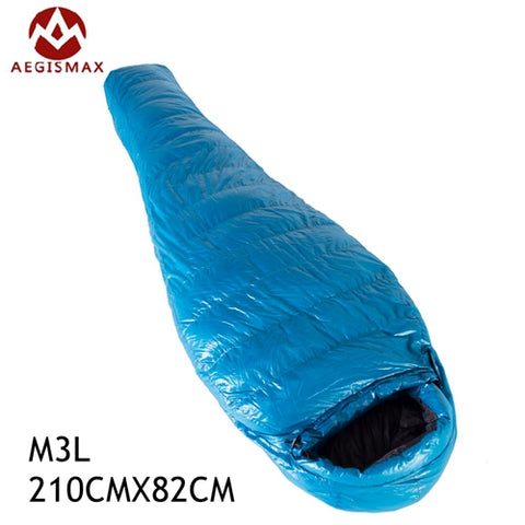 New Aegismax M3 Lengthened Mummy Sleeping Bag Ultralight White Goose Down Box Baffles Winter Outdoor Camping Hiking 210cm*82cm
