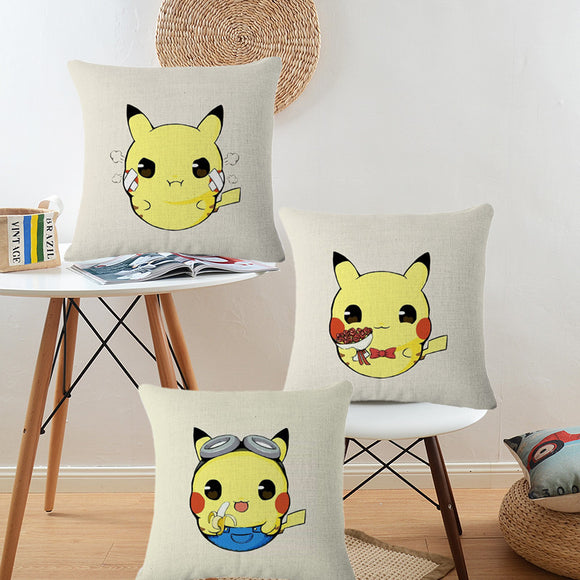 Linen Pikachu Throw Pillow Covers