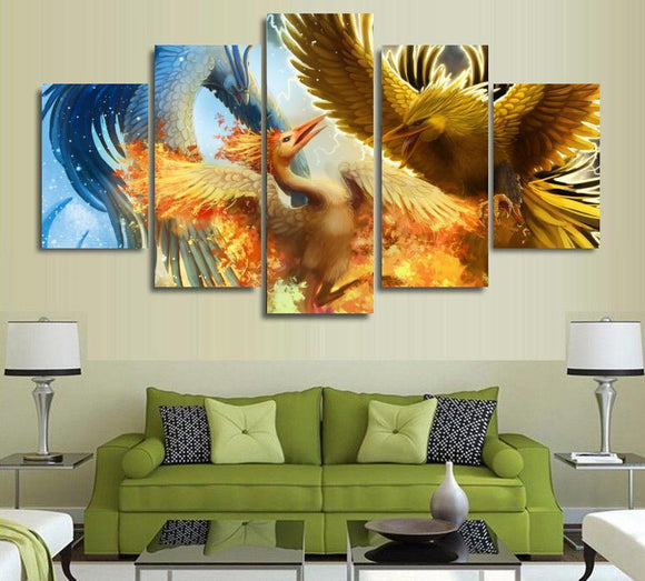 5 Panel Legendary Birds Oil Painting
