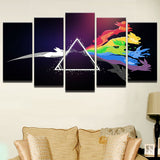 5 Panel Eevee + Pink Floyd Oil Painting