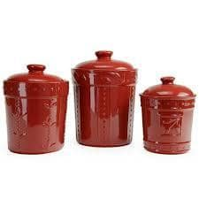 Sorrento 3 Pc Canister Set-Ruby