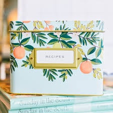 Rifle Paper Co. Citrus Floral Tin Recipe Box