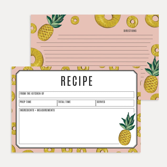 Pineapple Recipe Card Pack- pack of 15