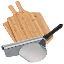 Pizza Kit with Spatula 2 peels and rocking cutter