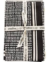 Black and White Cotton Tea Towels, Set of 3