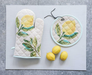 Round Cotton Pot Holder w/Lemon