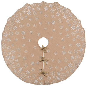 Now Designs Burlap Tree Skirt with Snowflake Print, 48 inch Diameter