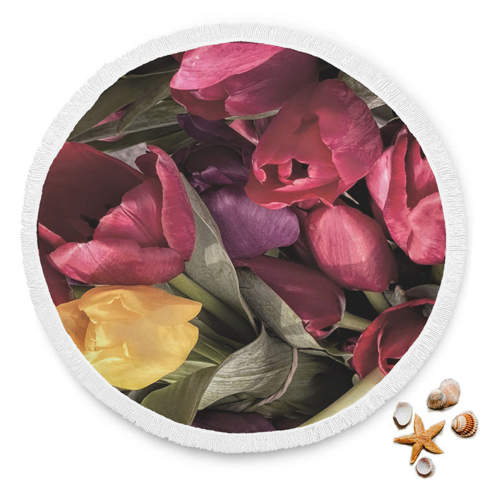 Bunches Of Tulips Round Beach Blanket