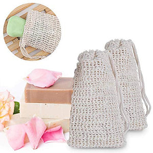 Exfoliating Natural Sisal Soap Bag Pouch Soap Saver Foaming net Shower Bath Scraps Save Soaps Natural Fiber Soap Bags