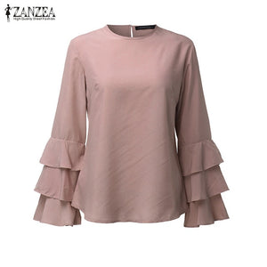 2019 ZANZEA Vintage Women Blouses Summer Autumn Winter Shirt Long Bell Sleeve Ruffled Flounce Blouse Tunic  Tops Blusa Plus Size
