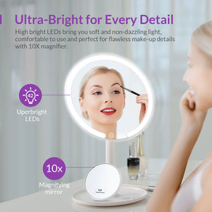 EASEHOLD Rechargeable Lighted LED Makeup Mirror 3 Color Modes 1X/10X Magnifying 90 Degree Rotation with 42 LEDs Dimmable Circle