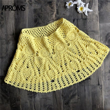 Aproms Candy Color Handmade Cotton Knitted Crochet Mini Skirts Women Summer Hollow Out High Waist Beach Skirt White Bottoms 2019
