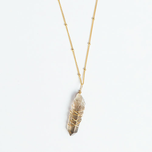 crystal point smokey quartz wrap necklace
