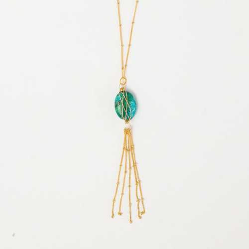 Eilat stone gold tassel necklace