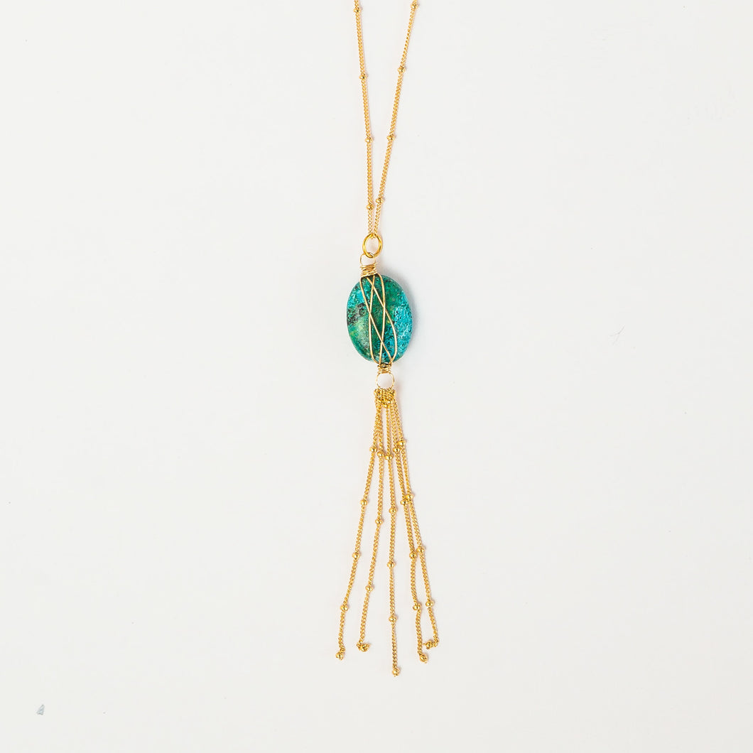 Turquoise + gold tassel necklace