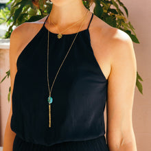 Load image into Gallery viewer, Turquoise + gold tassel necklace