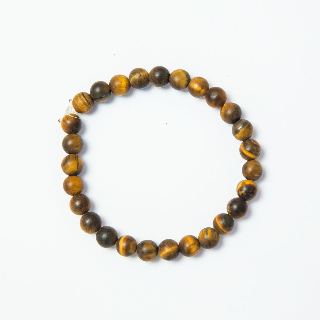 matte tiger eye mala bead stretch bracelet