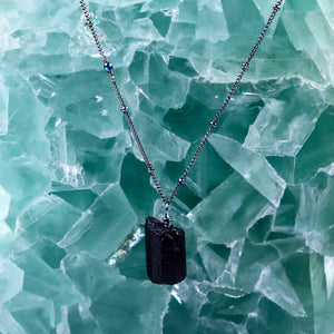grounding black tourmaline necklace | oxidized silver