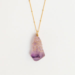 amethyst crystal wrap necklace