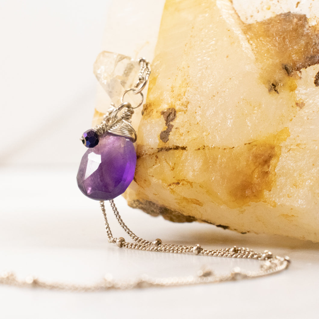 amethyst karma drop necklace | silver